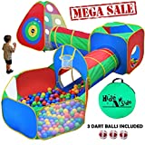 5pc Kids Ball Pit Tents and Tunnels, Toddler Jungle Gym Play Tent with Play Crawl Tunnel Toy , for Boys babies infants Children, w/ Basketball Hoop, Indoor & Outdoor, Dart Wall Game w/ 3 Dart Balls