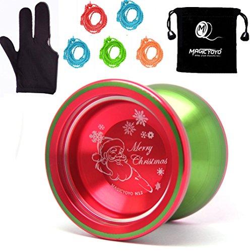 MAGICYOYO Christmas YoYo Unresponsive Shark Honor N12 Turquoise Yoyo Finger Spin Yoyo with Three Finger Glove+5 Yoyo Strings+Yoyo Sack