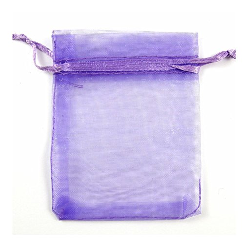 Yiuswoy Pack Of 100 Drawstring Candy Organza Pouches,Wedding Bags For Favors,Small Jewelry Party Favor Gift Bags (9x12cm) – Purple