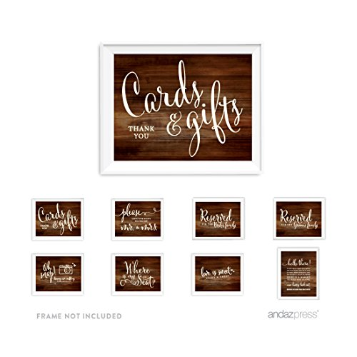 Andaz Press Wedding and Event Unframed Party Signs, Rustic Wood Print, Cards and Gifts Set, 8.5x11-inch, 8-Pack