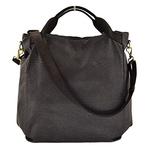 check-out 0f5d0 9770d Borbonese Borsa Shopping verticale mano e tracolla in Jet ...