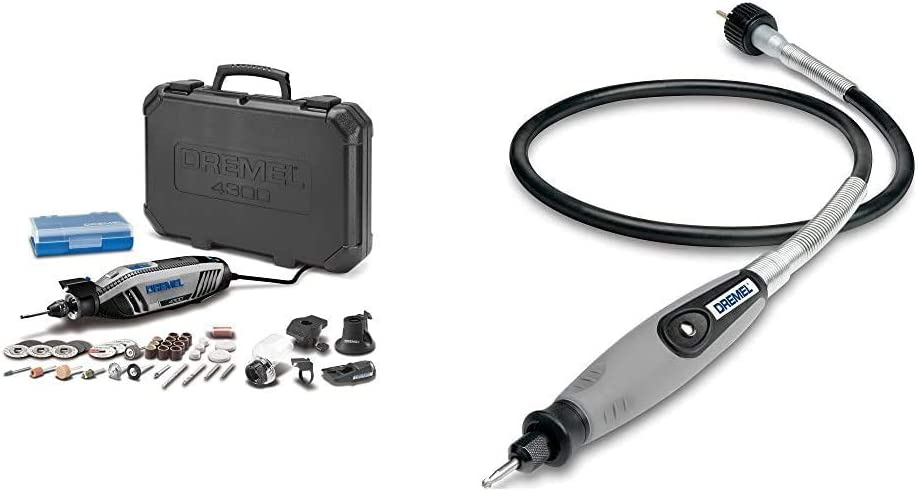"""Dremel 4300-5/40 High Performance Rotary Tool Kit & 225-01- Flex Shaft Rotary Tool Attachment with Comfort Grip and 36"""" Long Cable - Engraver, Polisher, and Mini Sander"""