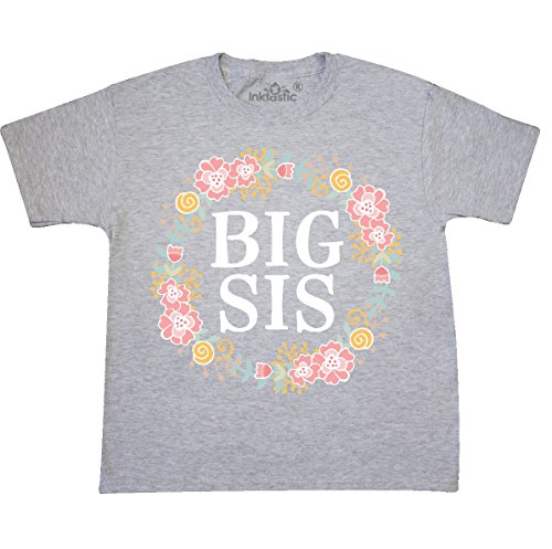 (inktastic - Big Sis Rose Youth T-Shirt Youth X-Large (18-20) Ash Grey 309a8)
