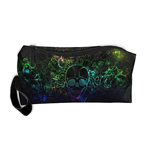 Color Smoke Skull Cosmetic Bags Brush Pouch Makeup Bag Zipper Wallet Hangbag Pen Organizer Carry Case Wristlet Holder -