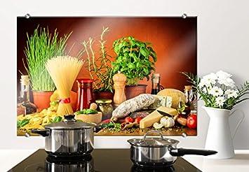 spritzschutz glasbild italienisch kochen mit abgerundeten ecken 80x60 cm mit klemmbefestigungen sp34394 - Glasbilder Kuche Spritzschutz