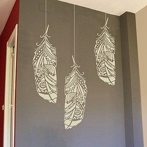 Forest Feathers Wall Stencil for Painting - Expedited 3 days Delivery - Ethnic Wall Accent - Reusable Template - Large Mylar Washable Plastic - Repeatable Pattern for Wall Décor