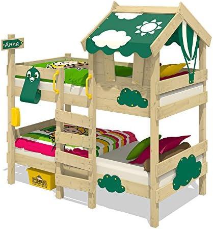 WICKEY Litera CrAzY Daisy Cama infantil Cama alta con techo, ventana, escalera y somier de madera, lona verde: Amazon.es: Bricolaje y herramientas