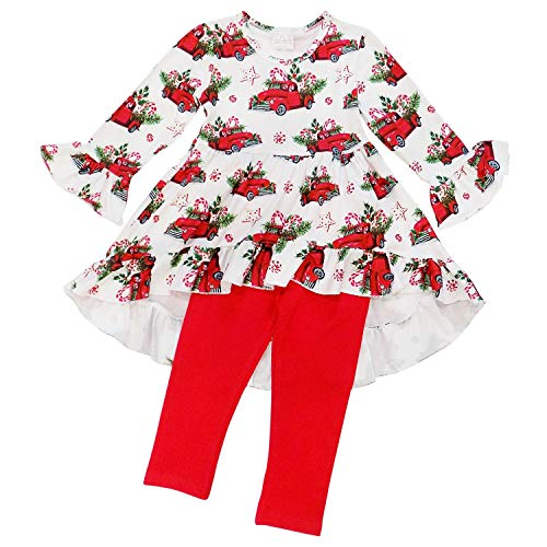 Boutique Christmas Dress (So Sydney Toddler 2 Pc Christmas Ruffle Pant Tunic Top Holiday Girls Boutique Clothing Outfit (S (3T), Christmas Truck Hi)