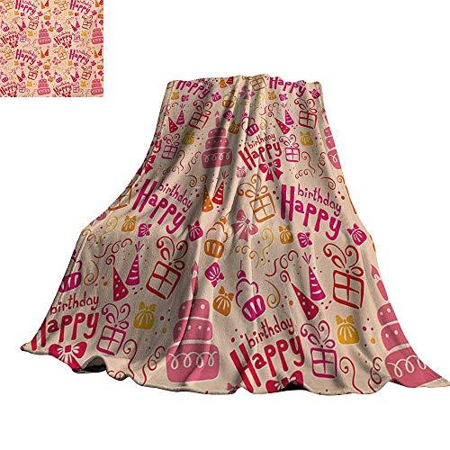 (RenteriaDecor Kids Birthday,Plush Blanket Present Party Themed Cakes Cone Hats Swirls Work of Art Print Custom Blankets)