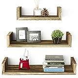RooLee Floating U Shelves Wall Mounted, Solid Wood Wall Shelves Set of 3