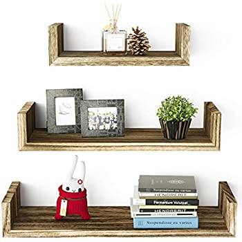 SRIWATANA Floating Shelves Wall Mounted, Solid Wood Wall Shelves, Torched Finish