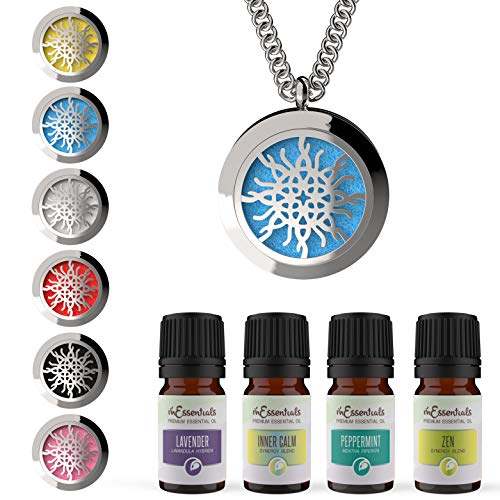 mEssentials Love Knot Essential Oil Diffuser Necklace Gift Set - Includes Aromatherapy Pendant, 24