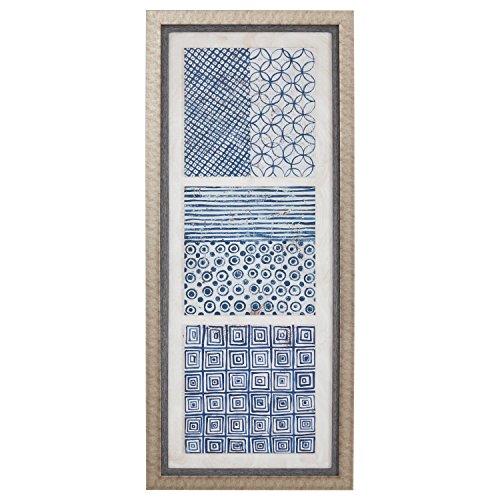 Boho Blue 3-Tile Wall Art Tryptych I, Beige Frame, 25.5