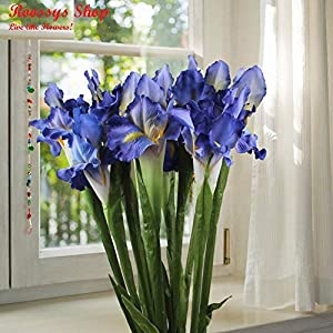 Roossys 9Pcs Blue Iris Artificial Flowers Home Decoration Party Supplies Bouquet Real Touch Flowers Home Wedding Decorative Flowers Wedding Decoration Artificial Flowers Weddings Decorations 54