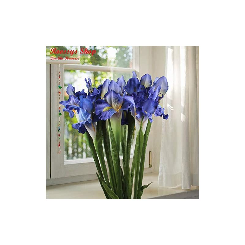 silk flower arrangements roossys 9pcs blue iris artificial flowers home decoration party supplies bouquet real touch flowers for home wedding decorative flowers wedding decoration artificial flowers for weddings decorations