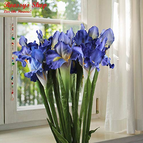 Roossys 9Pcs Blue Iris Artificial Flowers Home Decoration Party Supplies Bouquet Real Touch Flowers Home Wedding Decorative Flowers Wedding Decoration Artificial Flowers Weddings ()