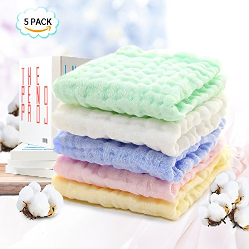 Moormmas Baby Muslin Washcloths and Towels Premium Extra Soft Newborn Baby Face Towel Baby Registry as Shower Gift 5 Pack -