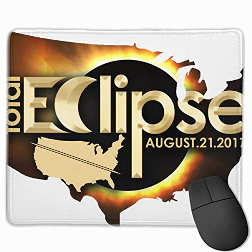 USA Map Total Solar Eclipse 2017 Quality Comfortable Game Base Mouse Pad with Stitched Edges Size 11.81 9.84 Inch]()