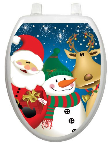 Toilet Tattoos TT-X622-O The 3 Christmasteers Design Toilet Seat Applique, Elongated