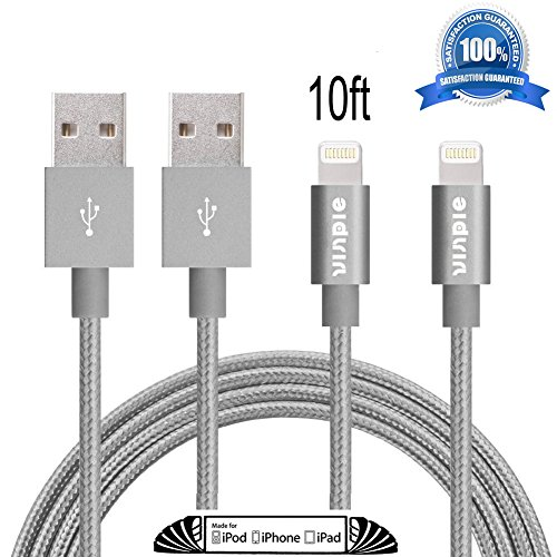 Amazon Lightning Deal 82% claimed: Vinpie 2Pack 10FT Extra Long Durable USB Cable Nylon Braided 8 Pin Lightning Sync and Charging Cord with Aluminum Connector for iPhone 6/6s/6 plus/6s plus, 5c/5s/5, iPad Air, iPod Nano/Touch (2pack 10ft Gray)