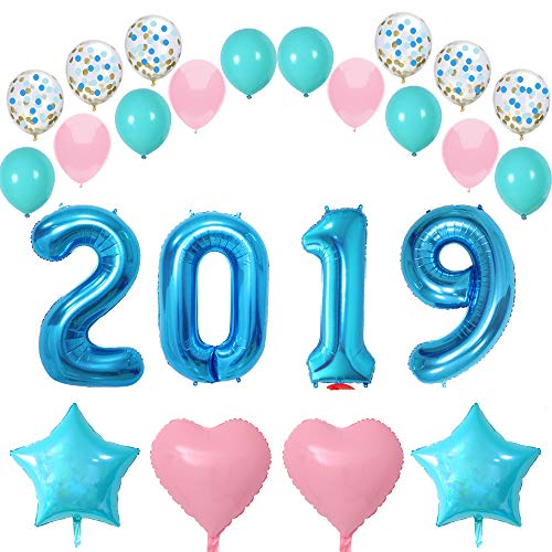 FUNPRT 40 Inch Blue 2019 Balloons,Turquoise Soft Pink Latex Balloons,Confetti Balloons/Star Heart Foil Balloons,New Year,Graduation,Wedding Bride Shower,Baby Shower,Party Decorations Supplies