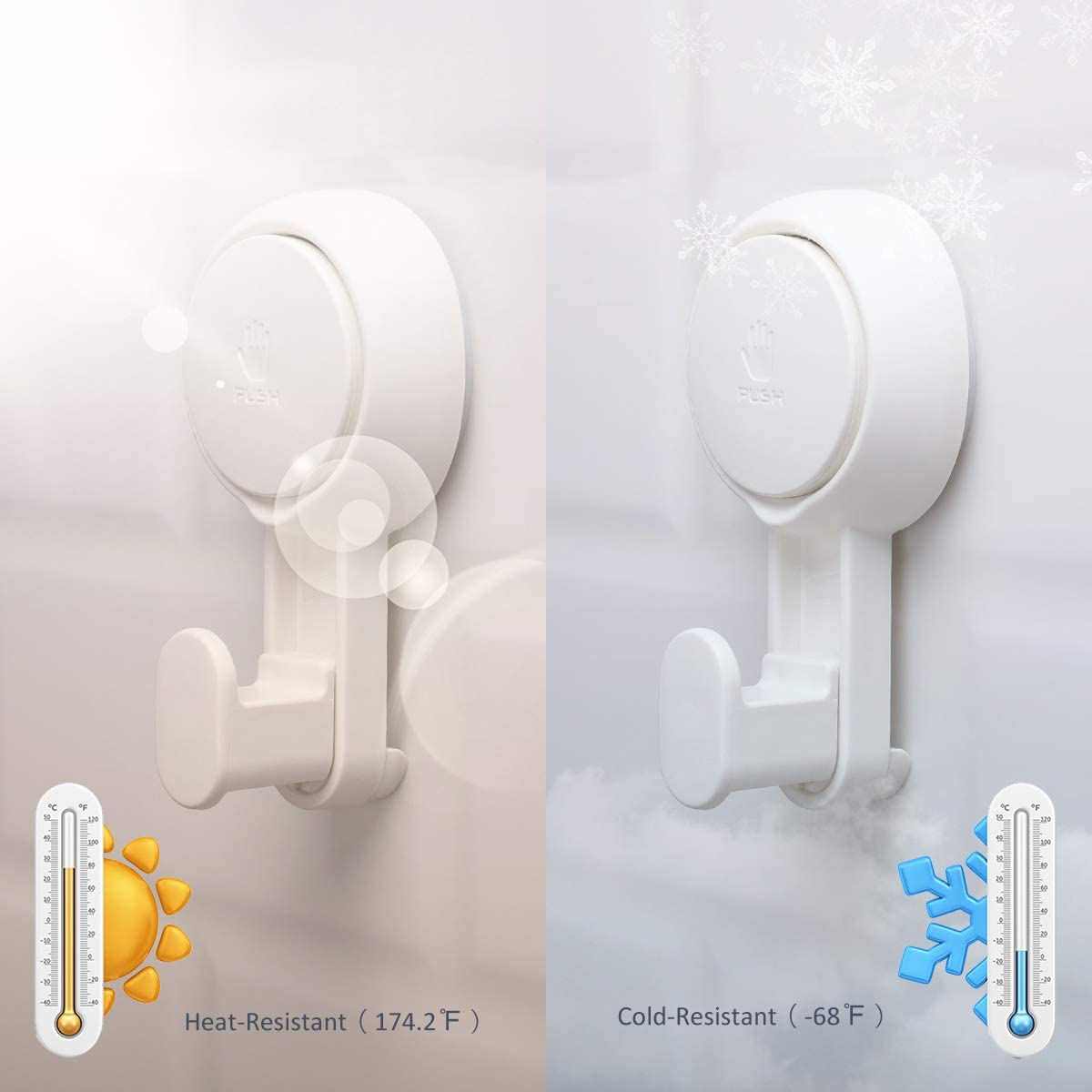 Heavy Duty Plastic in White Drill Free Bathroom Wall Door Glass Window Hanging Suction Shower Hook for Clothes//Handbag//Towel//Hat//Apron//Kitchen Accessories TAILI 2 Pack Vacuum Suction Cup Hooks