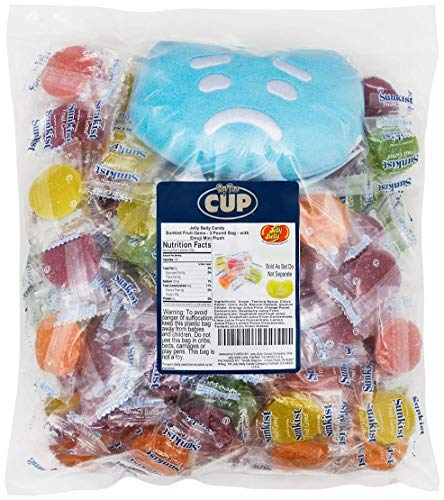 Jelly Belly Candy Gift Pack - 3 Pound Bag Sunkist Fruit Gems - with Jelly Belly Emoji Mini Plush