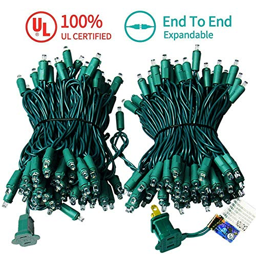 MZD8391 Upgraded 66FT 200 LED Christmas Lights Outdoor String Lights -100% UL CERTIFIED- Christmas Tree Lights Decoration For Wedding Party Patio Porch Garden, Warm White ( END TO END CONNECTABLE) ()