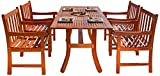 Malibu V189SET5 Eco-Friendly 5 Piece Wood Outdoor Dining Set