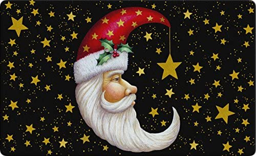 Toland Home Garden Santa Moon 18 x 30 Inch Decorative Floor Mat Christmas Sky Celestial Gold Star Holiday Doormat,Standard – 800107