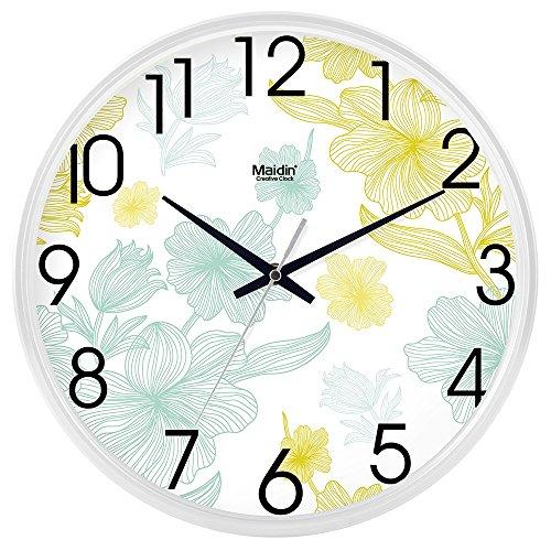BABYQUEEN 10 Inch Stylish wall Clock Office living room simple Silent clock creative quartz clocks Calendar General Edition White