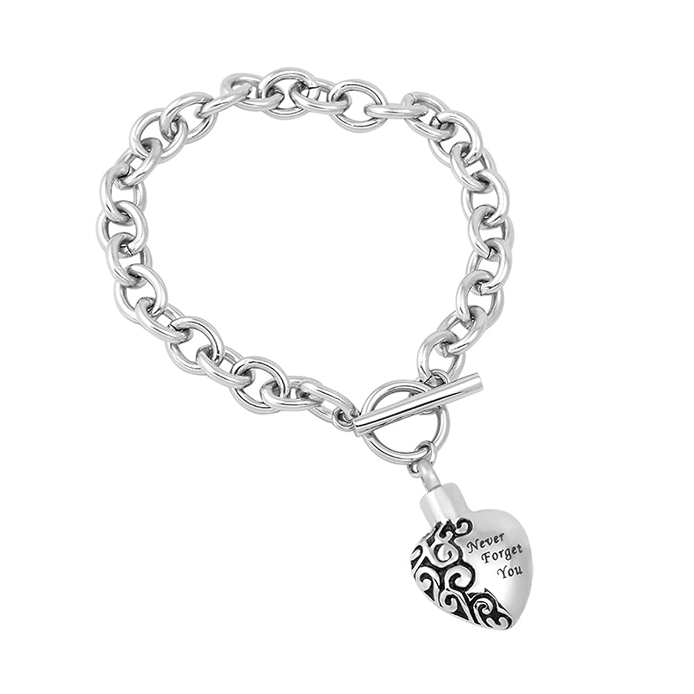 Stainless Steel prison Endding Cremation Urn Bangle Memorial Ashes Keepsake Charm Link Chain Bracelet for Love & Free fill kit