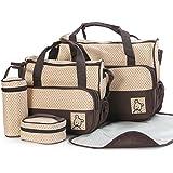 TechnoTec Multi-Function Baby Diaper Nappy Bag/Mummy Changing Set Handbag (Brown)