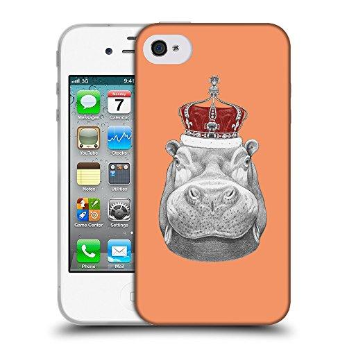 GoGoMobile Coque de Protection TPU Silicone Case pour // Q05260607 hippopotame Tangerine atomique // Apple iPhone 4 4S 4G
