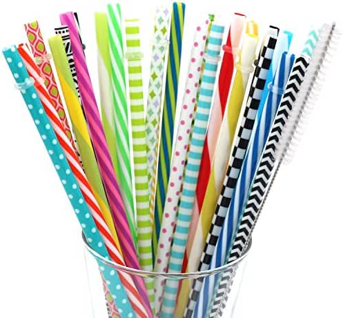 25 Pieces Reusable Straws,Colorful Individually Wrapped Drinking Straw,BPA-Free,9 Inch Thick Plastic Straw Fit for Mason Jar Tumbler,Family or Party Use,Cleaning Brush  Included