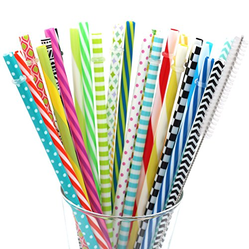 25 Pieces Reusable Straws,Colorful Individually Wrapped Drinking Straw,BPA-Free,9 and 10.5 Inch Thick Plastic Straw Fit for Mason Jar Tumbler,Family or Party Use,Free Cleaning Brush