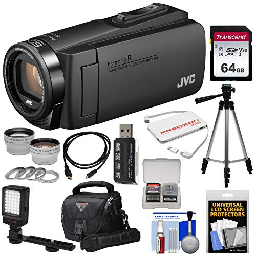 JVC Everio GZ-R460 Quad Proof 1080p HD Video Camera Camcorder (Black) with 64GB Card + LED Light + Tripod + Case + Charger + 2 Lens Kit