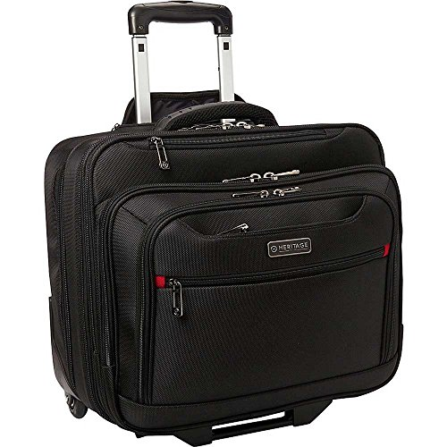 Heritage Polyester Wheeled Business Case Briefcase, Black, One Size (Case For Laptops Wheeled Computer)