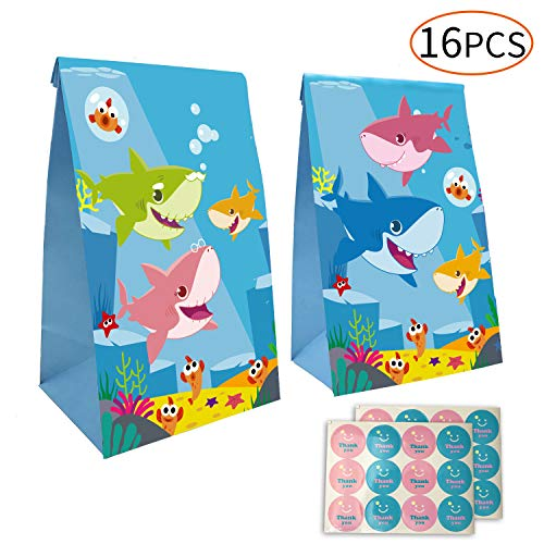 Yizeda Cute Shark Goodie Gift Bags Made of Paper for Kids Girls Shark Themed Birthday Party Set of 16 -