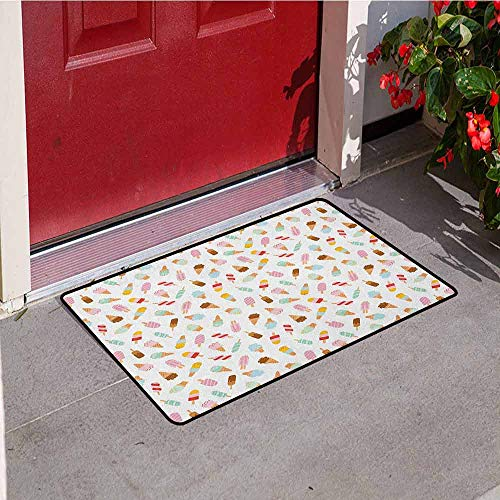 - Gloria Johnson Ice Cream Inlet Outdoor Door mat Cartoon Doodle Style Creamy Delicious Diary Desserts with Various Sweet Flavors Catch dust Snow and mud W29.5 x L39.4 Inch Multicolor