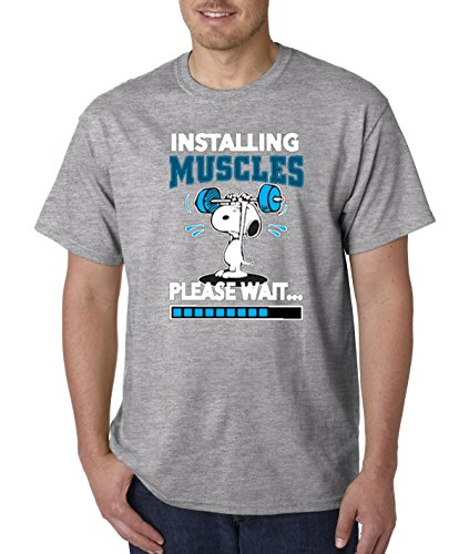 - New Way 433 - Unisex T-Shirt Installing Muscles Please Wait Snoopy Peanuts Workout Training Gym XL Heather Grey