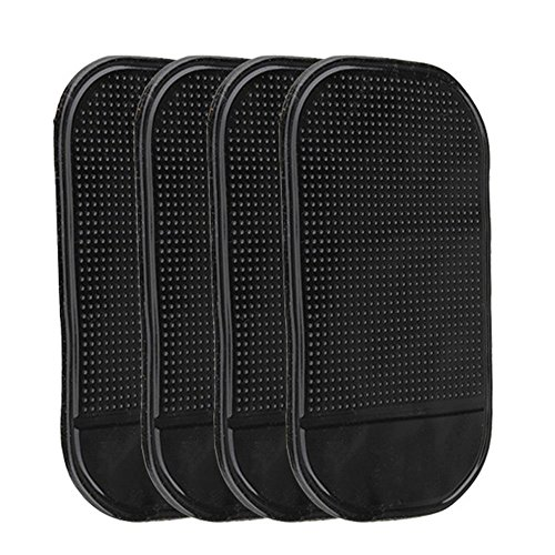 4PCS Non-Slip Mats Anti Slide Dash Cell Phone Mount Holder Mat Sticky Car Anti-slip Pads (5.3 x 2.7 inch, Black)