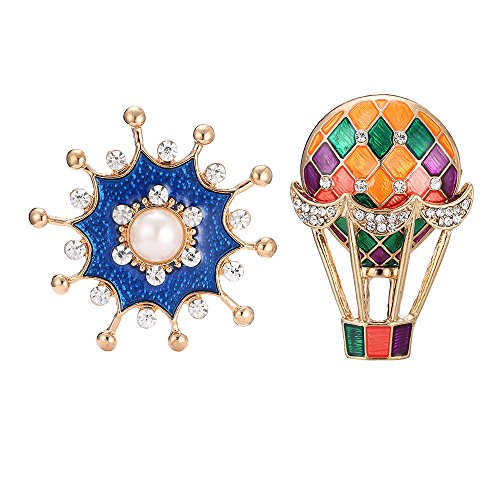 CROISSANT 2 pcs Alloy brooch, geometric hot air balloon, drip glaze pearl round blue corsage for men and women styles accessories?Exquisite Gift - Alloy Air