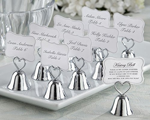 120 Kissing Bell Place Card Photo Holder Silver Heart