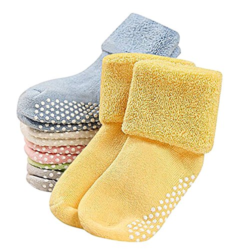 Baby 6 Pairs Premium Anti Slip Unisex Thick Cotton and Spandex Socks with Grips, Anti-Bacterial, Anti-Foul, Anti-Slip, Breathable, Disposable, Eco-Friendly,Diabetic 1-3 year old, Girl or Boy - Ray Girls