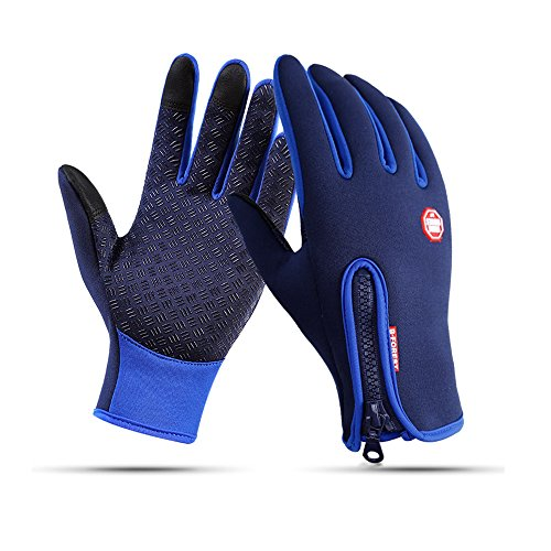 Winter Gloves Touch Screen Warm Gloves Cold Weather Windproof Cycling Driving Riding Bike Telefingers Thermal Gloves Non-slip Silicone Gel Adjustable Full Finger Mittens for Men and Women (Blue, S) ()