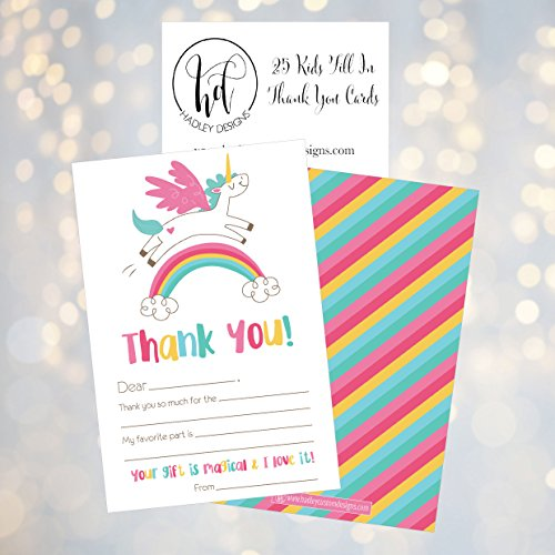 25 Unicorn Kids Thank You Cards, Fill In Thank You Notes For Kid, Blank Personalized Thank Yous For Birthday Gifts, Stationery For Children Boys and Girls Photo #3