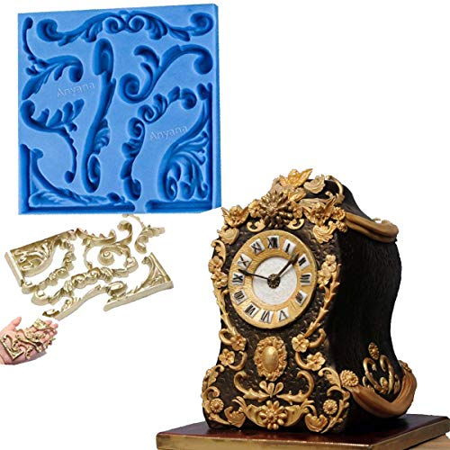 Anyana Baroque Vintage Scroll sculpted 3d Retro Palace Lace mould cake Fondant silicone gum paste mold for Sugar paste wedding birthday cupcake decorating topper decoration sugarcraft décor (Birthday Scroll)