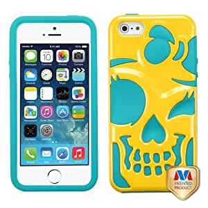 MYBAT Solid Pearl Yellow/Tropical Teal Skullcap Hybrid Protector Cover for APPLE iPhone 5S/5