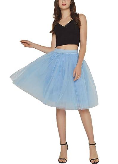 Reyoust Falda de tutú de Las Mujeres Midi Tulle Faldas 7 Capas de ...